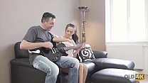 OLD4K. Curious teen makes closer acquaintance with mature guitarist