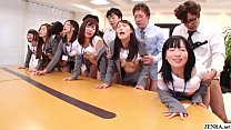 JAV huge group sex office party in HD with Subt...