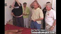 Ebony Kaitlyn's 7 White Cock Bukkake Bash