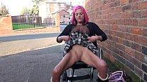 Redhead wheelchair bound babe Leah Caprice flas...