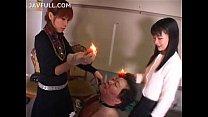 美人な女王様たちからスパンキング、ロウソク責めを受け恍惚な表情を浮かべる中年マゾ親父!