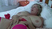 British and big boobed grandma Isabel rubs her ...