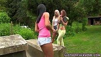 Glam lesbian trio rubbing