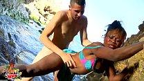 Interracial couple fucking at the beach
