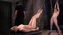 Two naked slaves in bondage whipped Thumbnail