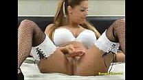 Horny college girl masturbates on webcam