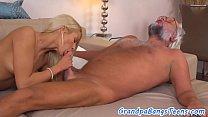 Teen beauty tastes her pensioner lovers cum