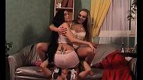 2 submissive slaves of naughty dominatrix in latex