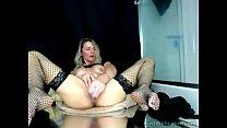 Blonde MILF toys herself on webcam />  <span class=