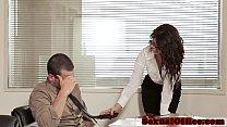 Office secretary riding on cock thumb