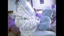 Teddy Bear and Girl white panties   Nounours et sa Copine
