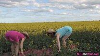 Natural lesbian girls on a canola field Thumbnail