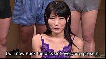 Subtitled Japanese gokkun swallowing party with Chigusa Hara thumbnail