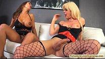 Huge boobs tranny Joanna Jet stuffs busty milf in her asshole