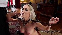Two blonde stepsis sharing dick in bondage
