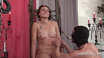 BDSM brunette with small tits hard corrected foot fucked and cum covered