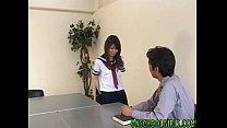 Asian schoolgirl Riko Araki gets pussy teased and swallows cock in hot blowjob