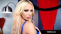 Busty Blonde Nikki Benz Strips & Finger Fucks H...