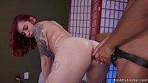 Lesbians anal fucking at massage