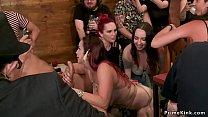 Huge tits redhead fucked in public bar