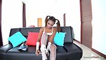 Brown skinned Thai girl bareback creampie