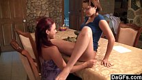 Strap-on experience with two lesbians on the table