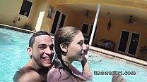 Busty girlfriend fucks in the outdoor pool