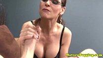 Handjob loving spex mature tugs cock Thumbnail
