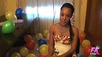 Ebony beauty celebrates her 18 birthday by having great fuck!