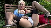 Blonde Leggy Schoolgirl in Black shear Stockings Thumbnail