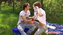 young shaving boys outdoor