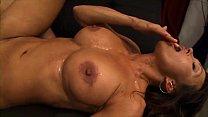 Big titted brunette sucks, fucks, and gets facial thumb