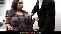 Married boss bangs his plump ebony secretary