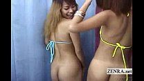 Subtitled Japan bikini gyaru double blowjob unc…
