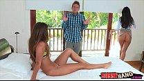 India Summer and Eva Lovia threesome sex with lucky guy