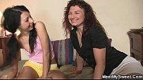 Mom seduces his girl into lesbian fucking