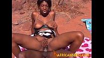Horny ebony beauty bouncing hard on a dick outd...