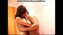 girl sucking her boyfriend in the bathroom
