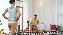 Dude got hard during female fitness training