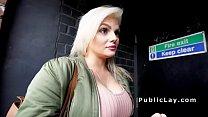 Busty bangs in reverse cowgirl in public