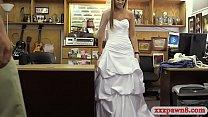 Cute blond girl wears her wedding dress and fuc...