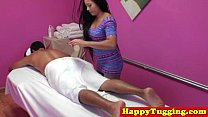Inked asian handjob massage