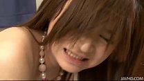 Sweet Rui Yazawa in her school uniform sucks a hard rigid cock