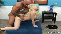 Smoking hot blonde with large hooters gets plowed hard