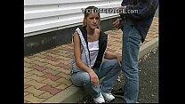 blond teen outdoor blowjob