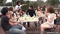Summer Asian girls sucking on cocks in the sunn...