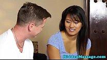 Asian beauty enjoys massage and hard sex