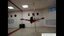 skinny girl pole dancing