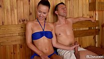 Sauna slut Taylor Sands sucks off 2 strangers c... Thumbnail