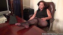 BBW milf Marie Black gets naughty in fishnets Thumbnail